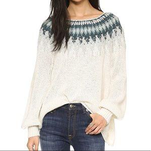 Free People Baltic Fair Isle Sweater Ivory Chunky
